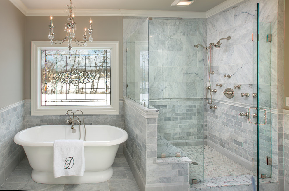 12x24 Tile Bathroom Traditional with Chair Rail Chandelier Frameless Shower Glass Leaded2