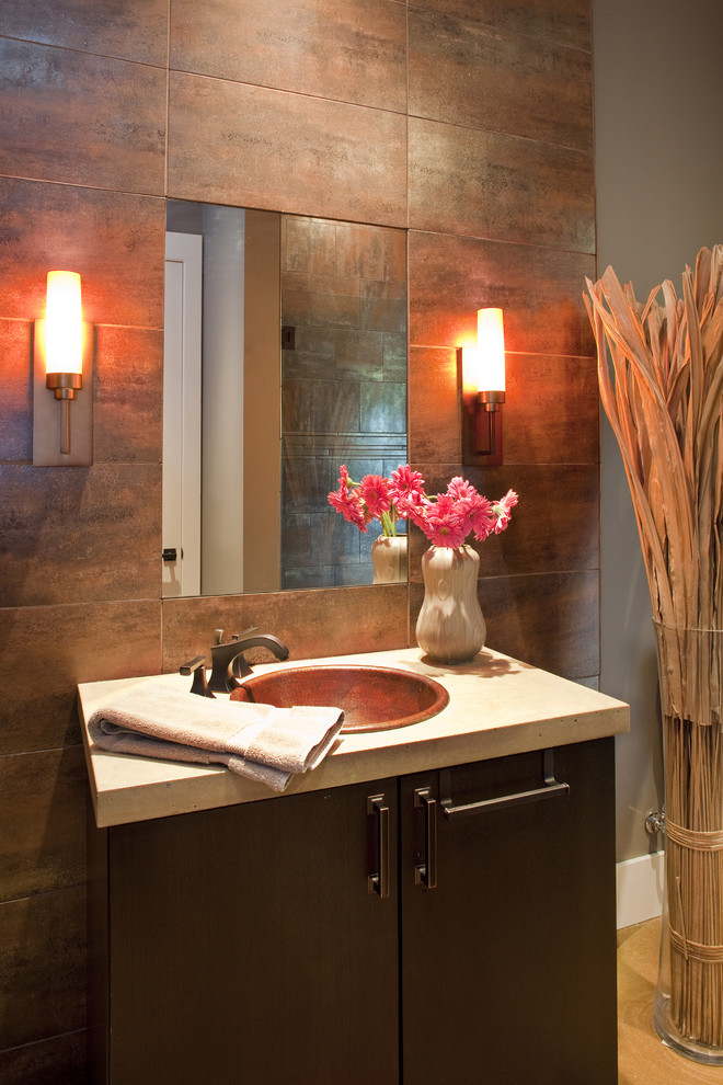 12x24 Tile Powder Room Contemporary with Accent Wall Baseboards Bathroom Mirror Copper Sink2