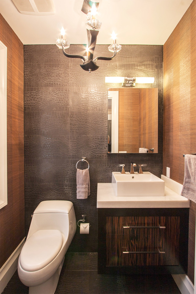 12x24 Tile Powder Room Contemporary with Chandelier Floating Vanity Mirror Single Sink Snakeskin2