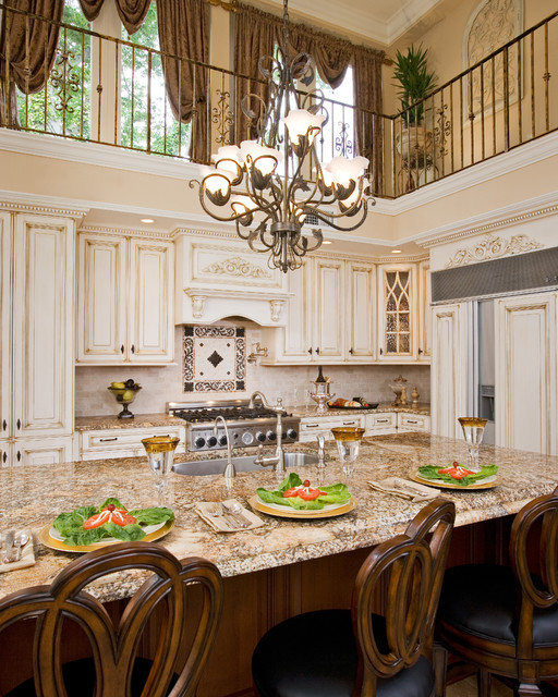 33 Inch Wide Refrigerator Kitchen Traditional with Accent Tile Apron Sink Breakfast Bar Cabinets Backsplash Balcony