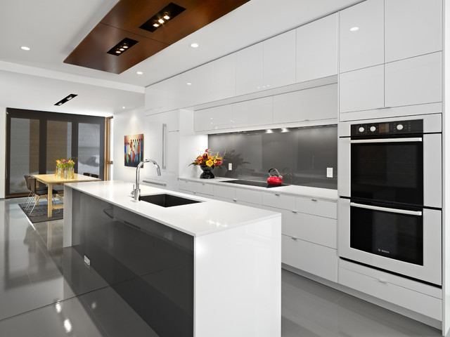 36 Inch Gas Cooktop Kitchen Contemporary with Backsplash Blanco Bosch Caesarstone Quartz Ceiling Lighting Cooktop Glossy