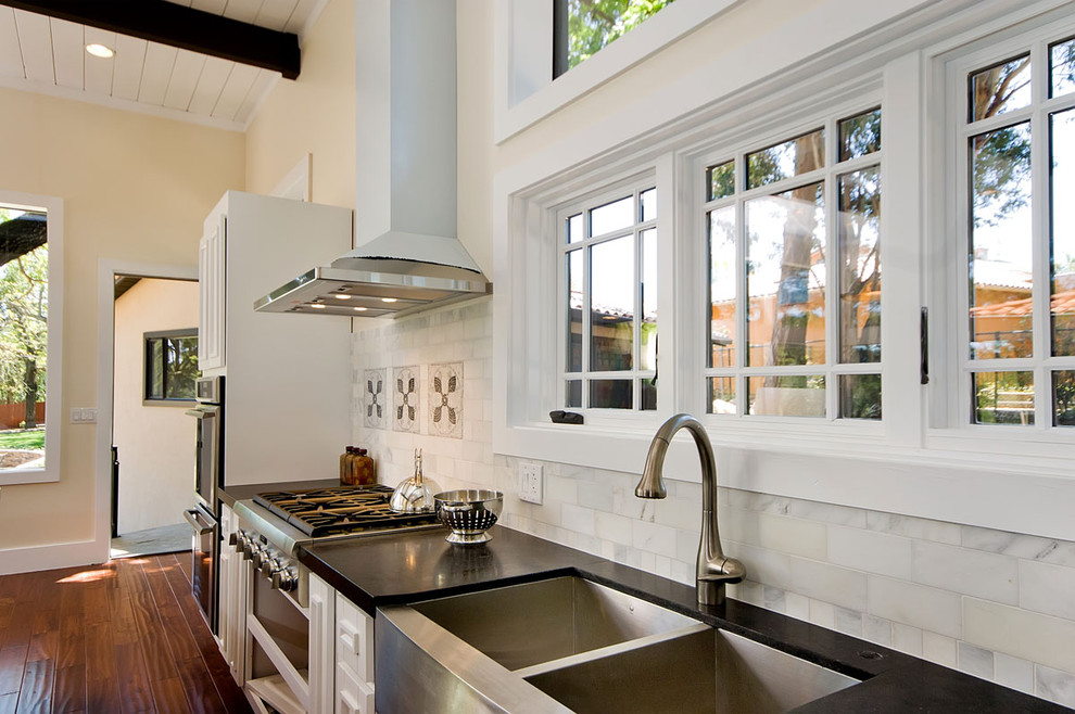 3x6 Subway Tile Kitchen Contemporary with Black Countertops Double Bowl Sink Exposed Wood