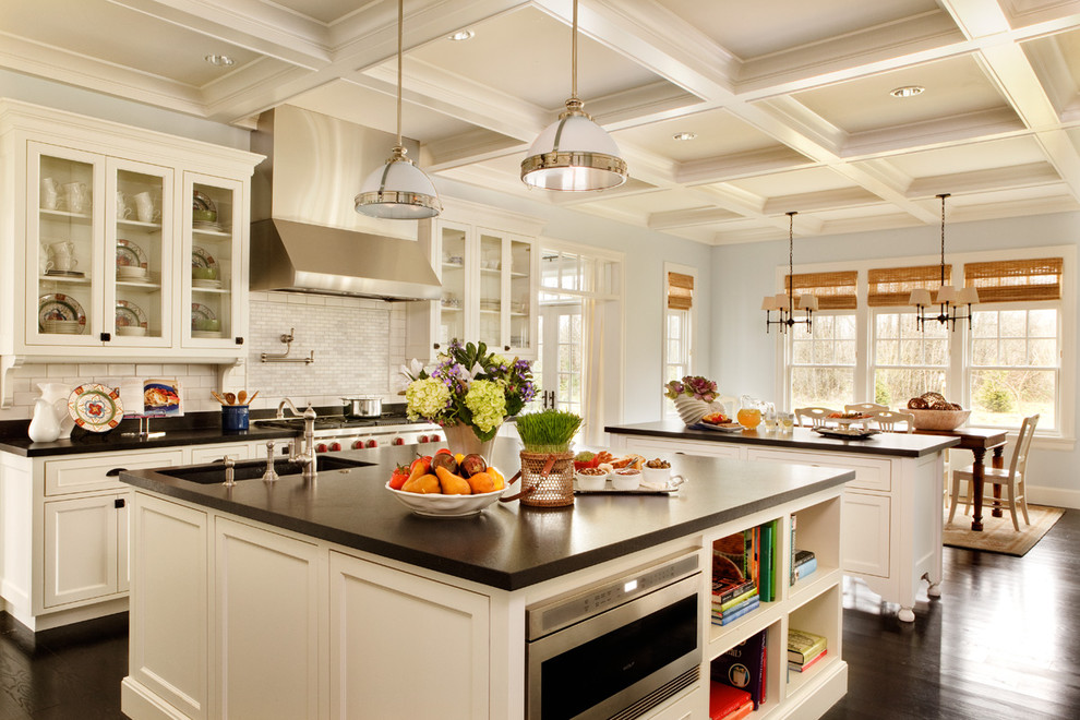 3x6 Subway Tile Kitchen Traditional with Backsplash Black Counter Coffered Ceiling Dark Wood