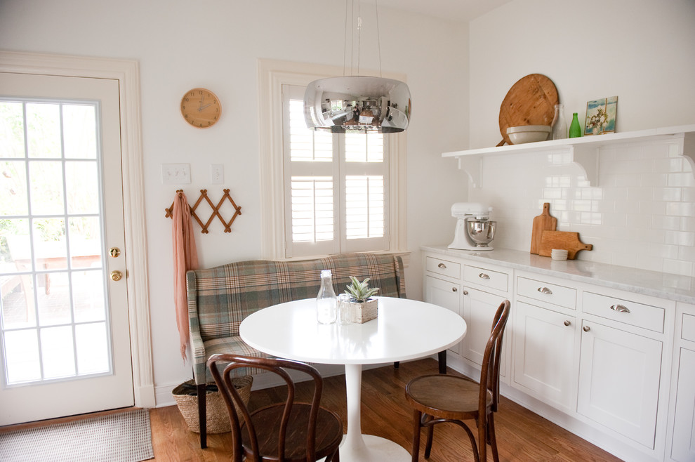 90 Inch Round Tablecloth Kitchen Traditional with Bentwood Chairs Carrera Marble Countertop Dining Bench