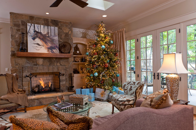 9ft Christmas Tree Living Room Traditional with Area Rug Built in Bookcase Ceiling Fan Christmas Tree French