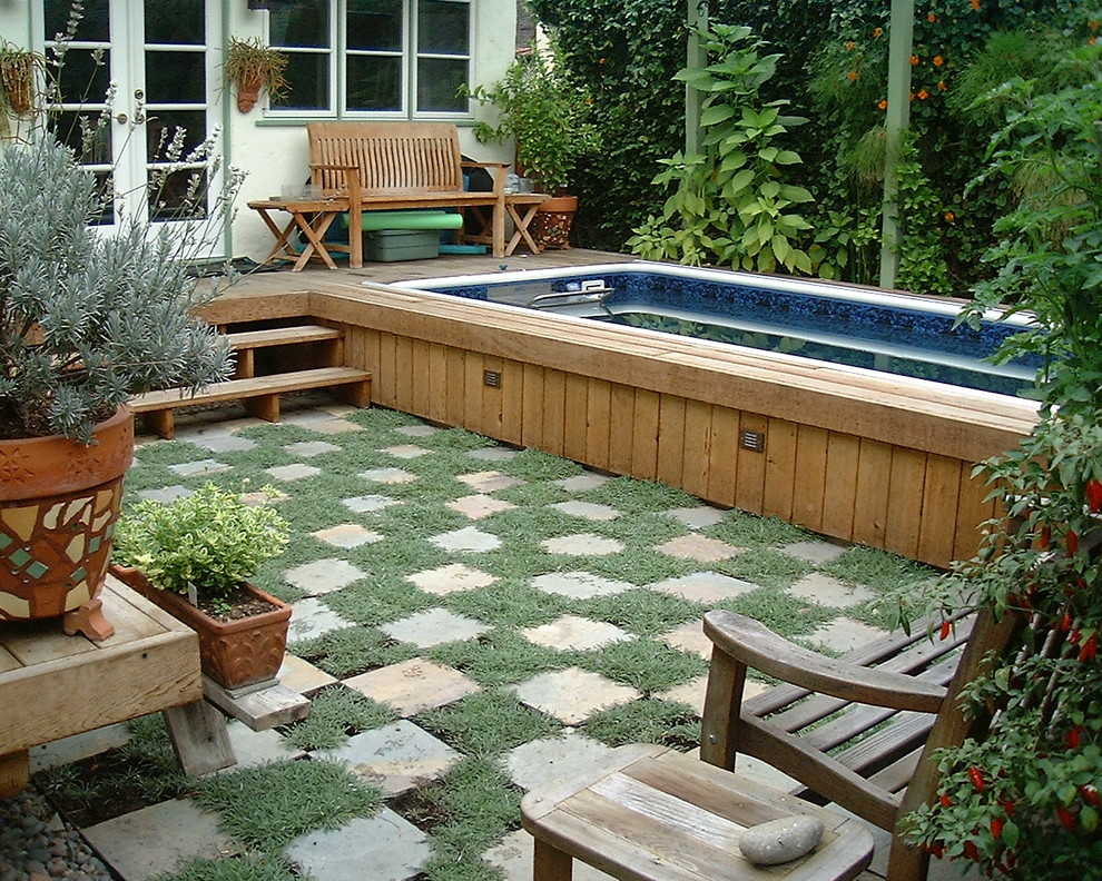 Above Ground Pool Deck Ideas Landscape Contemporary with Backyard Checker Pattern Container Plants Courtyard Deck
