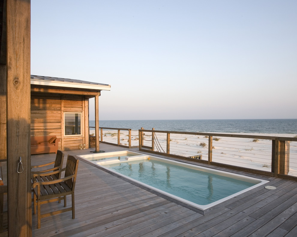 Above Ground Pool Deck Ideas Pool Rustic with Beach Beach House Cable Railing Coastal Deck