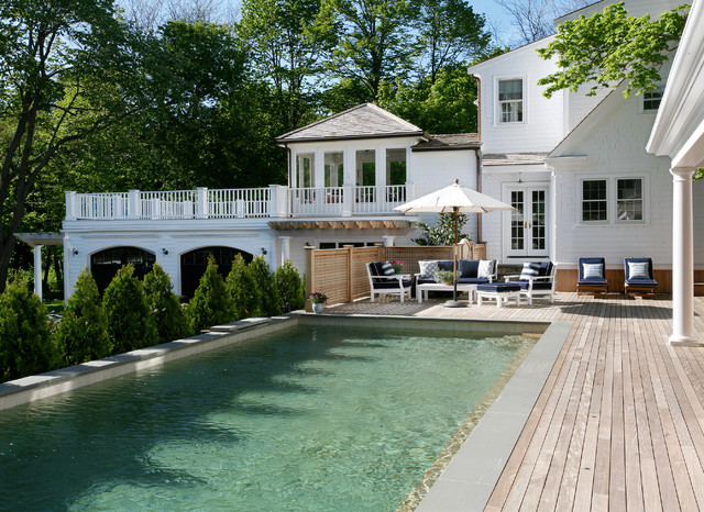 Above Ground Pool Deck Kits Pool Traditional with Balcony Balustrade Blue Chaise Lounge Column Deck Exterior Furniture