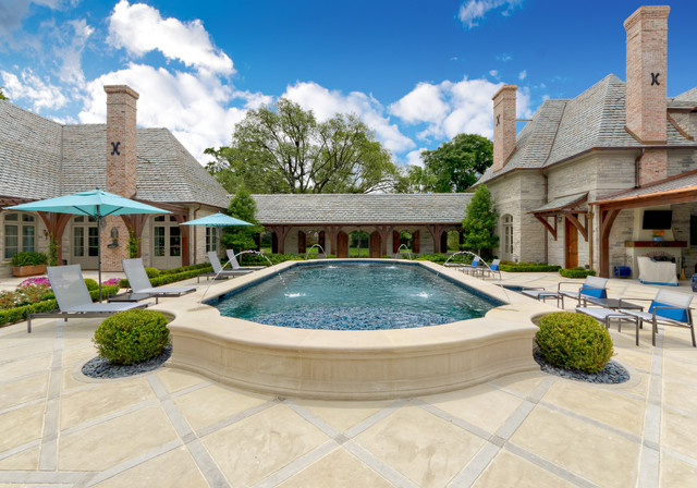 Above Ground Pool Deck Kits Pool Traditional with Blue Umbrellas Chimney Covered Patio Exterior Fireplace Fountain Hardscape