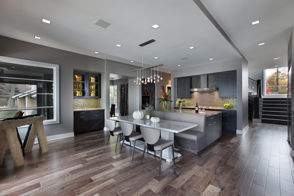 Acacia Wood Flooring Kitchen Contemporary with Banquette Seating Beige Tile Backsplash Built In