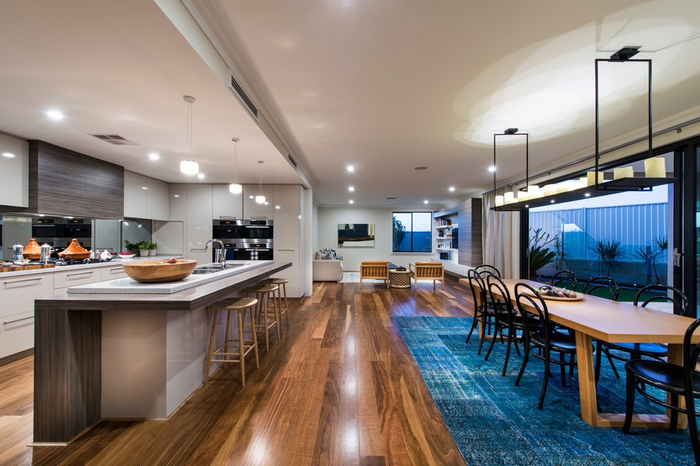Acacia Wood Flooring Kitchen Contemporary with Breakfast Bar Chandeleir Comfortable Luxury Dining Table