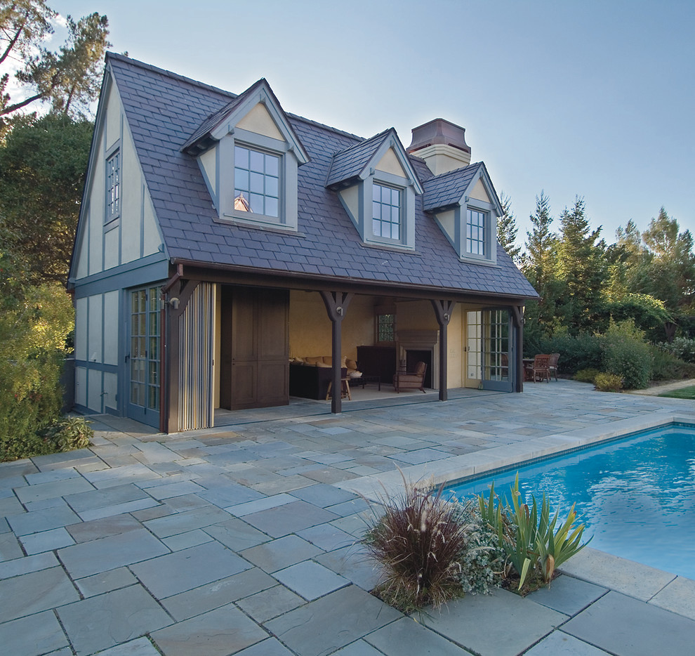 Accordion Doors Pool Traditional with Curtains Dormer Windows Drapes Exterior Fireplace Exterior