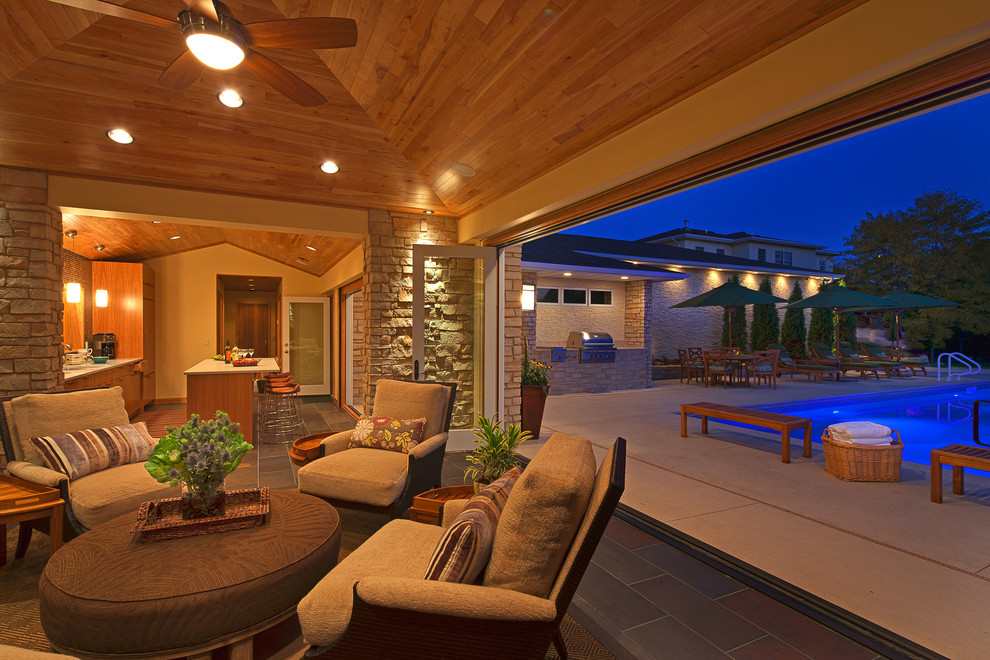 Accordion Glass Doors Patio Contemporary with Ceiling Fan Covered Patio Indoor Ottoman Outdoor