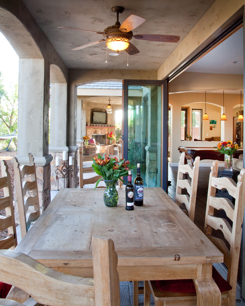 Accordion Glass Doors Patio Traditional with Accordion Door Arched Openings Ceiling Fan Covered