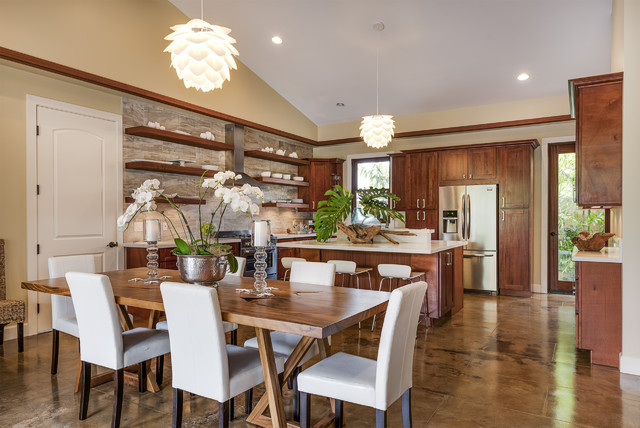 Acid Stain Concrete Kitchen Tropical With Dining Table Light Floating  Shelves High Ceiling Kitchen Island