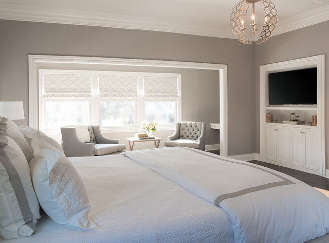Airtron San Antonio Bedroom Transitional with Barn Doors Bedside Lamp Built in Cabinets Built in Tv