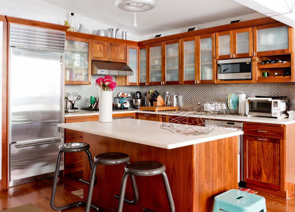 Alder Wood Cabinets Kitchen Eclectic with Breakfast Nook Espresso Machine Frosted Glass Cabinets1