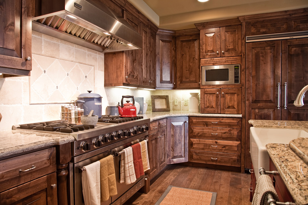 Alder Wood Cabinets Kitchen Traditional with Apron Front Sink Custom Wood Cabinets Dark1