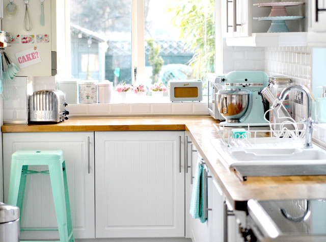 all clad waffle maker Kitchen Eclectic with beadboard cabinets kitchen pastel pastel colors pillowed tile backsplash