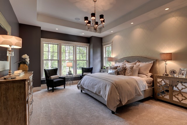 Allen and Roth Closet Bedroom Traditional with Alcove Armchairs Bed Bedding Carpeting Chandelier Double Hung Windows