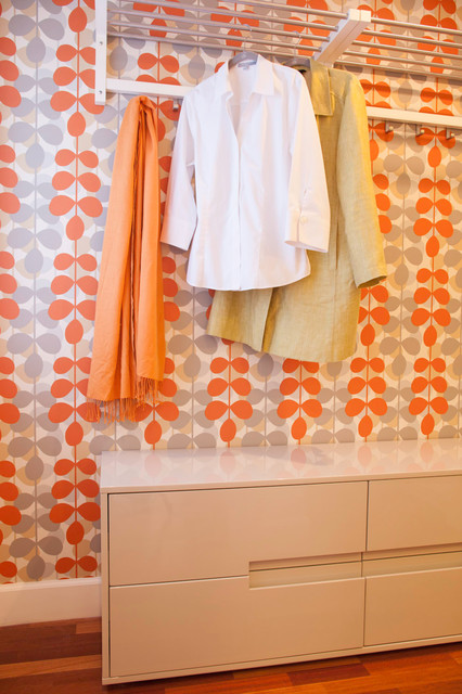 Allen and Roth Closet Closet Contemporary with Grey Orange Pattern Wall Wallpaper