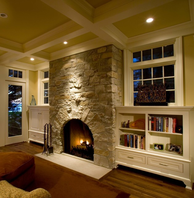 Allen and Roth Patio Furniture Family Room Traditional with Baseboards Bookshelves Built in Shelves Ceiling Lighting Coffered Ceiling