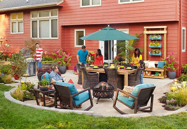 Allen and Roth Patio Furniture Spaces Contemporary with Allen Roth Backyard Container Flowers Container Garden Entertaining Firepit