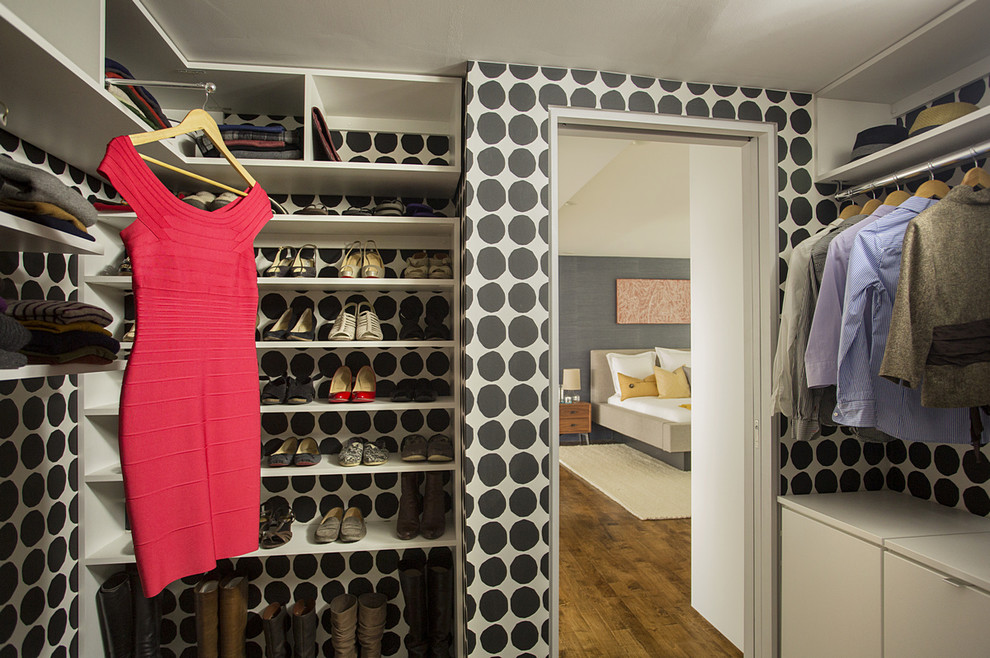 Allen Roth Closet Closet Contemporary with Black and White Color Scheme Built In