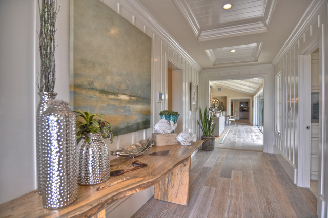 Allure Ultra Flooring Hall Beach with Baseboards Board and Batten Ceiling Treatment Console Table Crown
