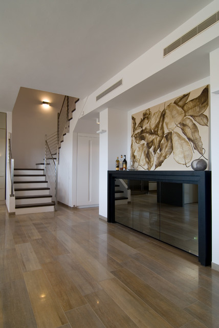 Allure Ultra Flooring Hall Contemporary with Metal Railing Staircase White Walls Wood Floor