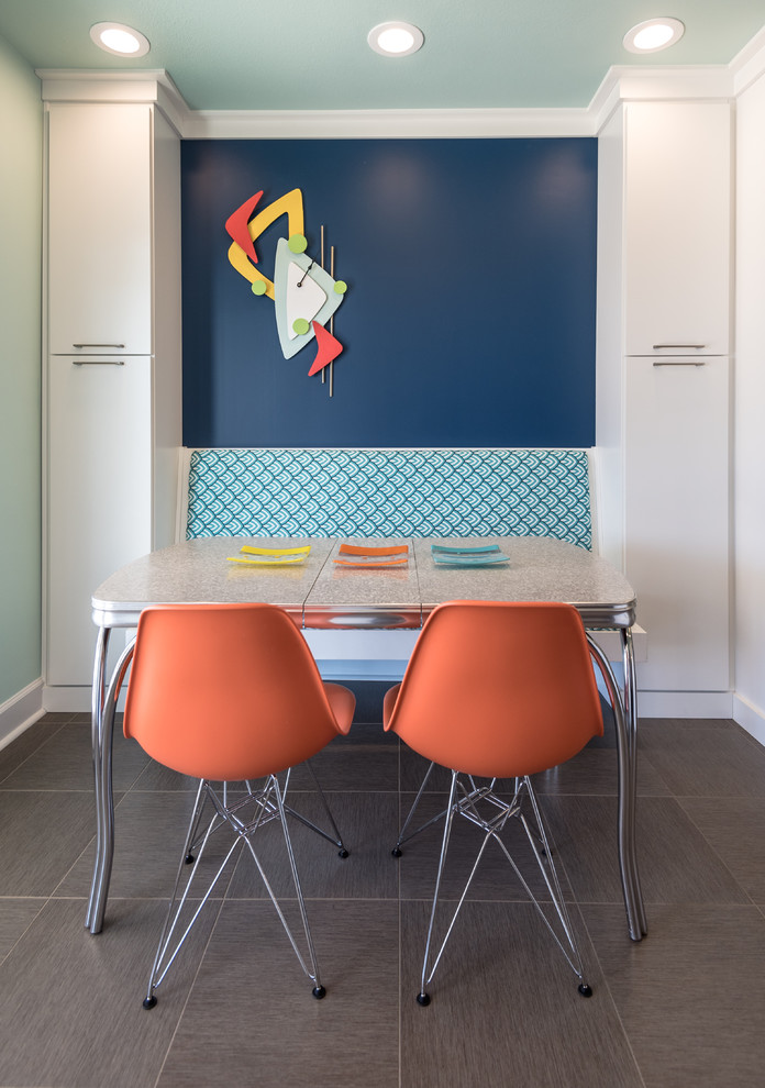Alterna Flooring Kitchen Eclectic with Arch Hood Banquette Banquette Seating Blanco Blanco