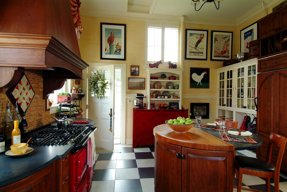 alterna flooring Kitchen Traditional with armoire black and white ceramic checkerboard flo