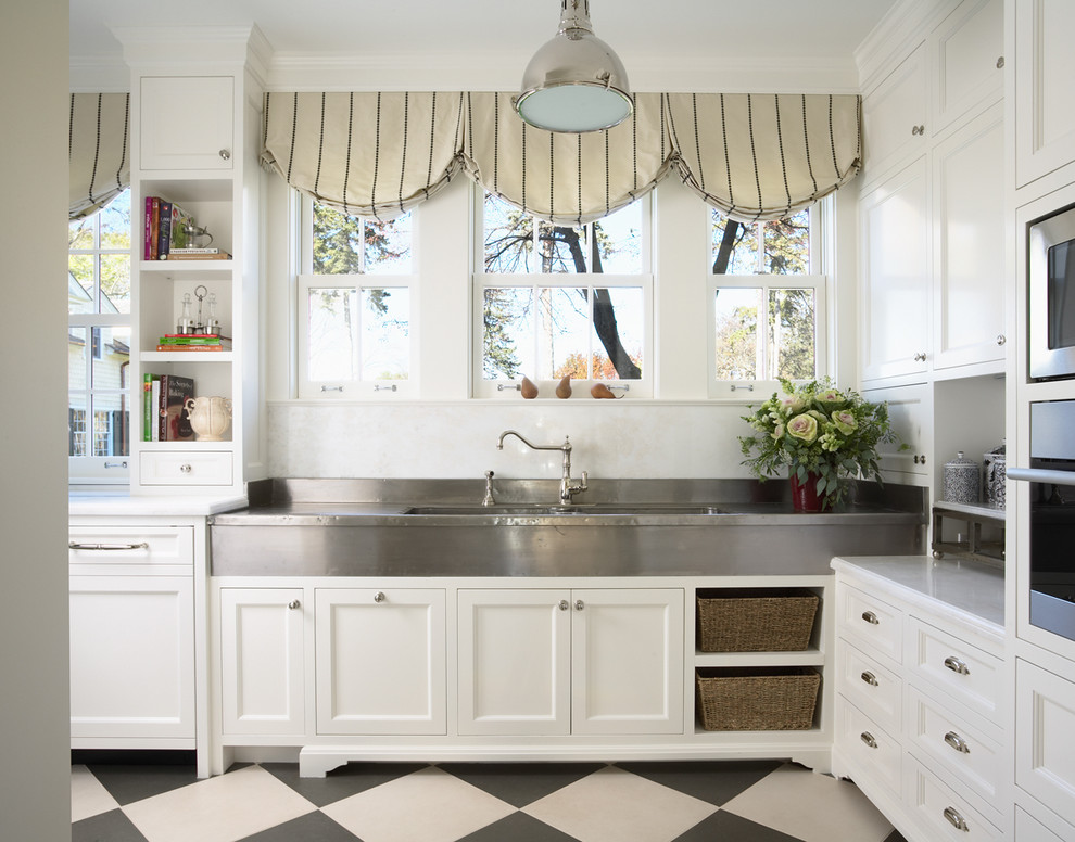 Alterna Flooring Kitchen Traditional with Balloon Shades Black and White Bookshelves Cubbies