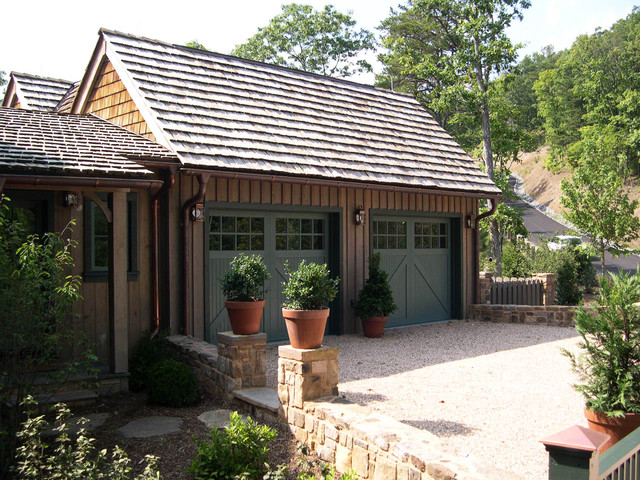 Amarr Garage Doors Garage and Shed Traditional with Board and Baton Siding Carriage Doors Courtyard Drive Garage