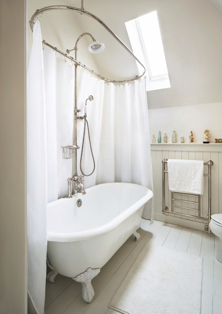 Amba Towel Warmers Bathroom Farmhouse with Painted Floorboard Renovation Shabby Chic Skylight Victorian White Painted