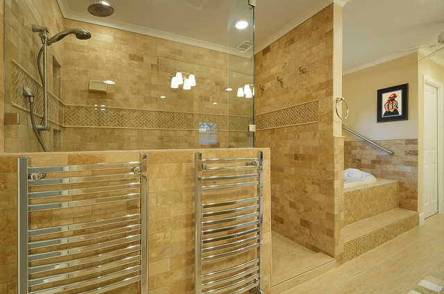 Amba Towel Warmers Bathroom Traditional with Accent Tile Bathtub Beige Champagne Chrome Frameless Shower Frameless