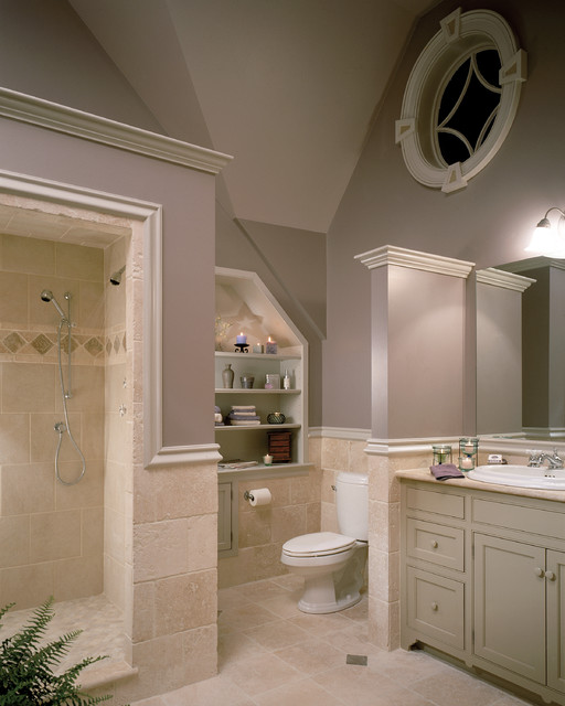 American Standard Toilet Parts Bathroom Traditional with Bathroom Storage Built in Shelves Circle Window Fern Lavender Mauve