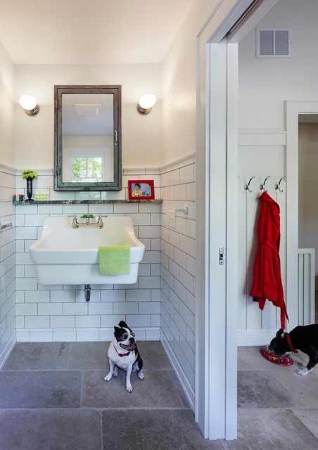 American Standard Toilet Parts Powder Room Traditional with Medicine Cabinet Stone Floor Subway Tile Utility Sink