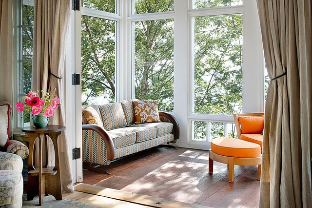Amish Furniture Michigan Sunroom Traditional with Deck Decorative Pillows Glider Orange Cushions Outdoor Cushions Screen