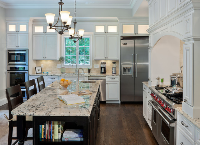 Amish Kitchen Cabinets Kitchen Contemporary with Ceiling Lights Counter Stools Crown Molding Dark Stained Wood