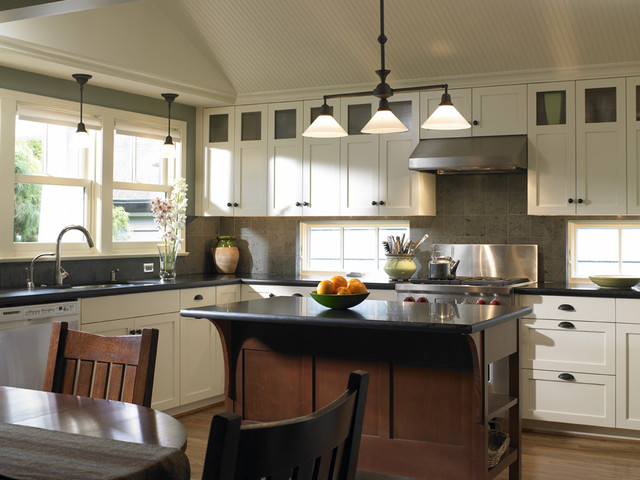 Amish Kitchen Cabinets Kitchen Traditional with Accent Ceiling Beadboard Bungalow Ceiling Treatment Craftsman Style Double