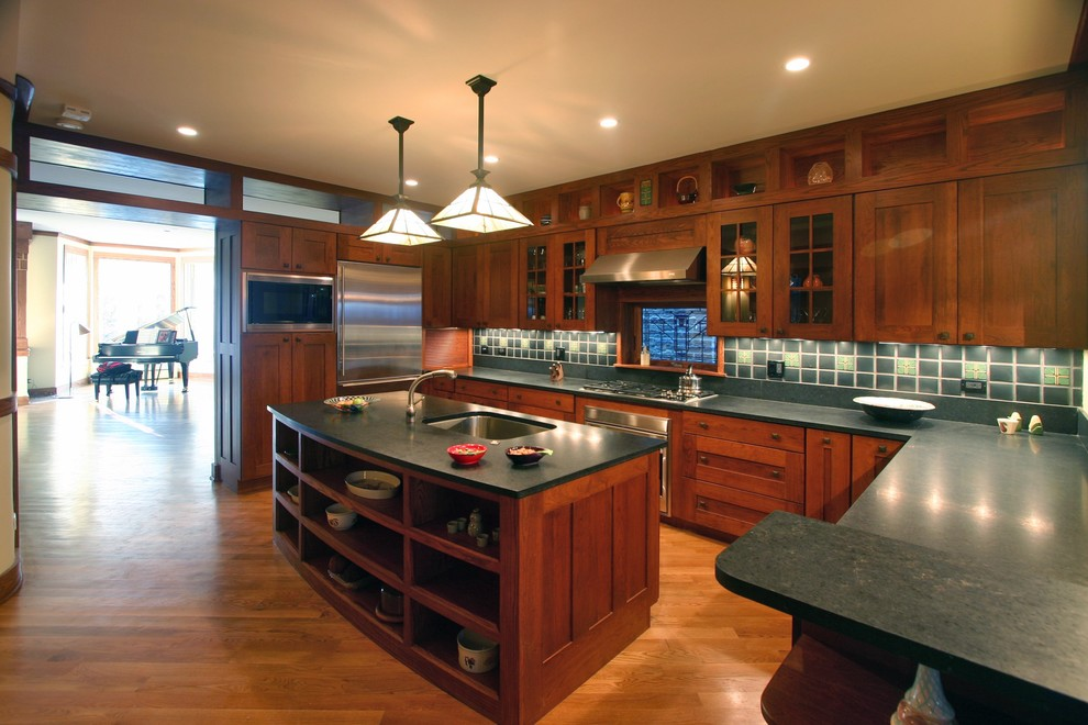 Amish Kitchen Cabinets Kitchen Traditional with Ceiling Lighting Craftsman Style Glass Front Cabinets