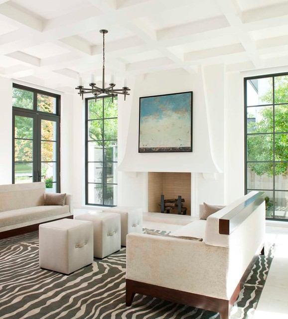 Andersen Windows Prices Living Room Contemporary with Area Rug Artwork Chandelier Coffered Ceiling Dark Stained Wood