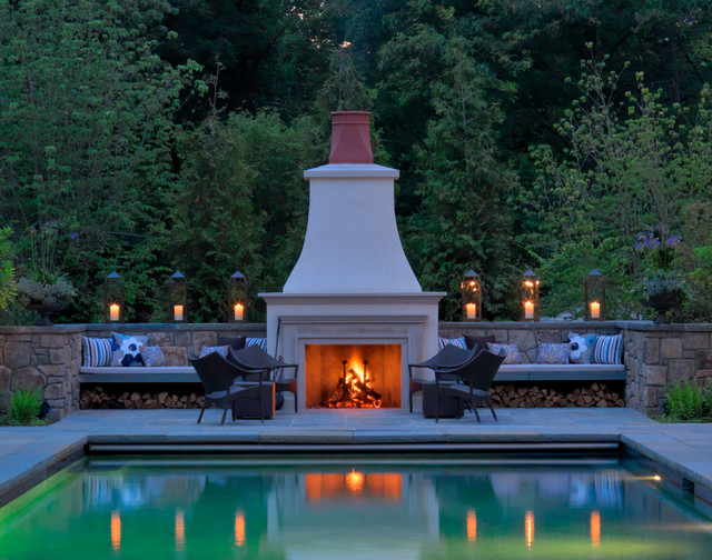 Andirons Pool Traditional with Andirons Built in Bench Candles Exterior Design Exterior Furnishings Fire