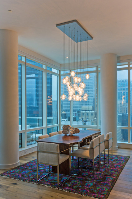 Animal Hide Rugs Dining Room Contemporary with Chandelier City Views Colorful Area Rug Dining Table Light