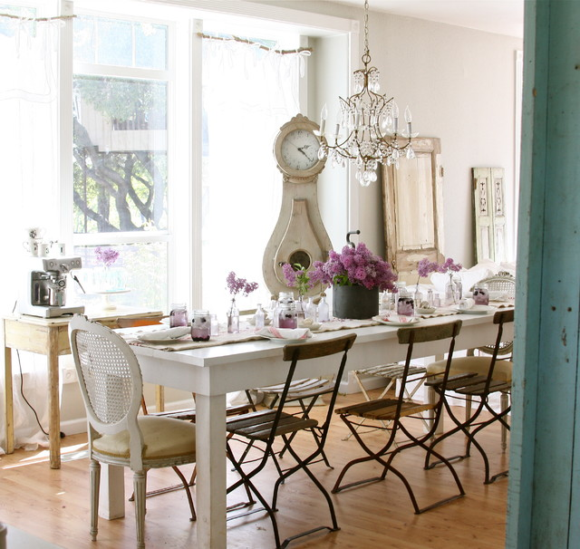 antique grandfather clocks Dining Room Shabby-chic with bistro chairs crystal chandelier farmhouse table flea market french