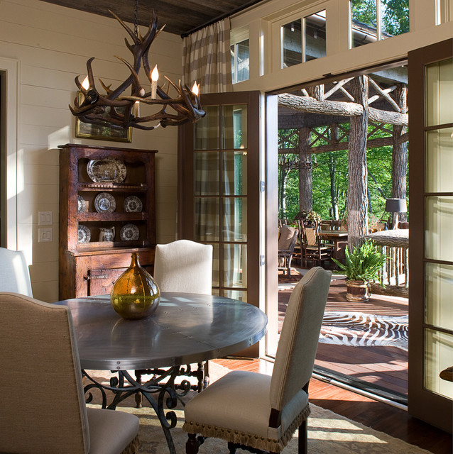 Antler Lamps Dining Room Traditional with Antler Chandelier Area Rug Bark Railing Branches Breakfast Room