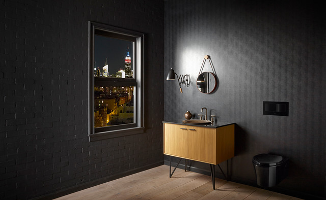 Appliance Discounters Spaces Contemporary with Bathroom Black Bronze Eclectic Faucet Lighting Mirror Sink Sleek
