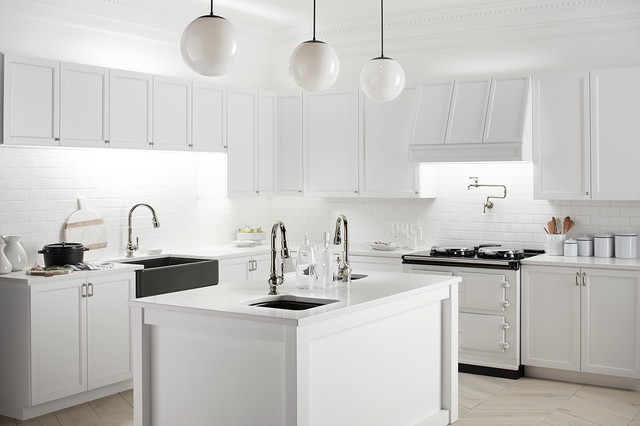 Apron Sinks Kitchen Traditional with 3x6 Subway Tile Faucet Herringbone Pattern Kitchen Pendant Lights