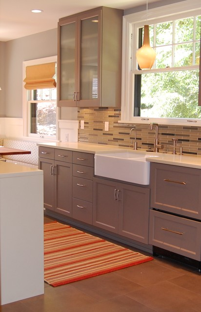 apron sinks Kitchen Transitional with apron sink banquette seating dark stained wood farm sink